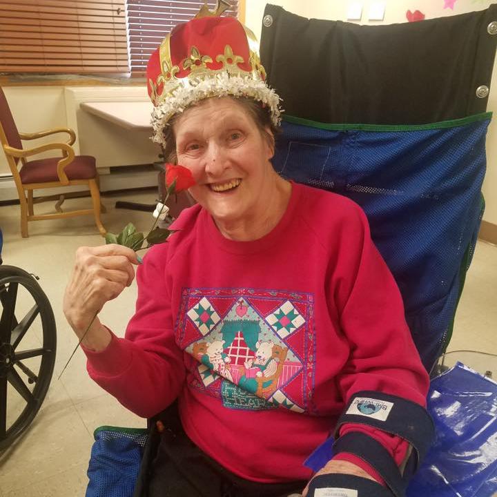 Image of Old Lady wearing a crown at Kadima at Lakeside Nursing and Rehabilitation Facility